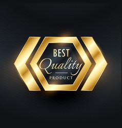 best quality golden label badge design vector image