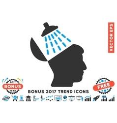 Brain washing flat icon with 2017 bonus trend vector
