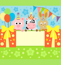 Cartoon background card with funny animals vector