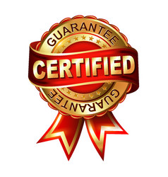 Certified guarantee golden label with ribbon vector