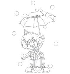 Clown with an umbrella vector