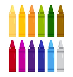 Colorful crayons set isolated on white vector