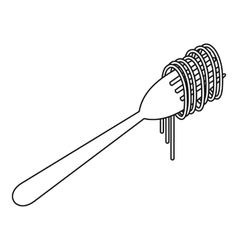 Cooked spaghetti on a fork icon outline style vector