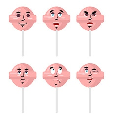 Emotions lollipop set expressions avatar candy vector
