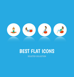 Flat icon pregnancy set of lady sport yoga and vector