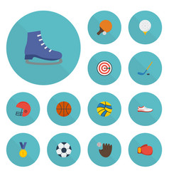 flat icons golf glove basket and other vector image vector image