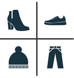 Garment icons set collection of beanie pants vector
