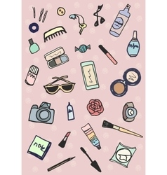 Hand drawn collection of accessories make-up vector image vector image