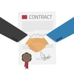 Handshake on a background of the contract vector image vector image