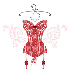 ladys sexy red vintage corset vector image