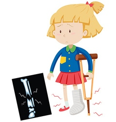 Little girl with broken leg vector