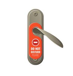 Metal door handle with do not disturb sign vector