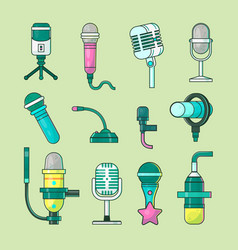 Microphone icons mike telecommunication vector