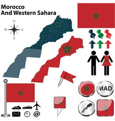 Morocco and western sahara map vector