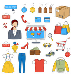 online shopping hand drawn icons set vector image