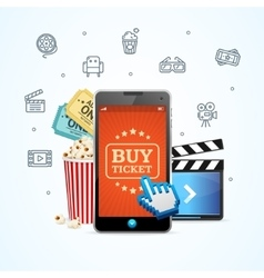 Online Ticket Cinema with Mobile App vector image vector image