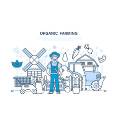 Organic farming farm cultivation eco products vector