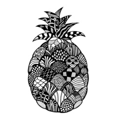 Pineapple hand drawn vector