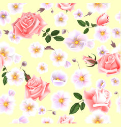 Roses seamless pattern a bouquet of delicate vector