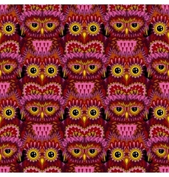 Seamless pattern with bright owls vector