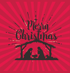 silhouette of the nativity of jesus christ vector image