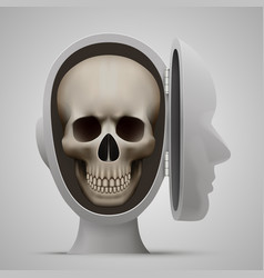 skull inside the open head vector image vector image