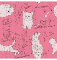 Vintage seamless texture with kittens vector