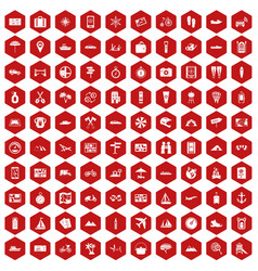 100 travel icons hexagon red vector image vector image