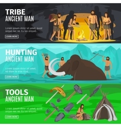 Stone age caveman evolution banners vector