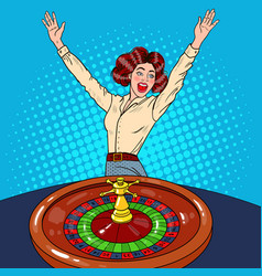 Woman behind roulette table celebrating big win vector