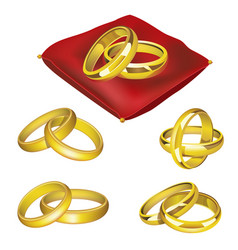 Wedding rings - realistic set of objects vector