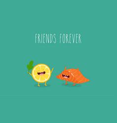 Lemon and salmon friends vector
