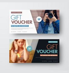 Template of a gift black and white voucher with vector