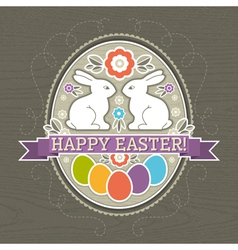 Background with easter eggs and two rabbit vector