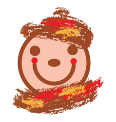 Smiling face in warm colors vector