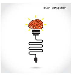 Creative light bulb symbol and brain connection vector