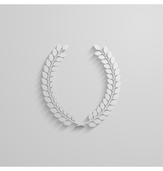 With laurel wreath 3d paper design with long vector