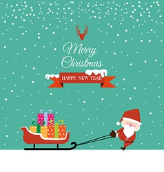 Abstract christmas with santa claus and gift on vector