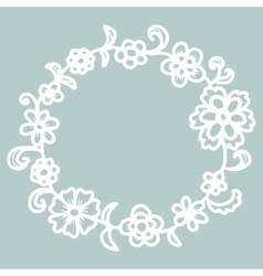 Hand drawn floral round frame vector