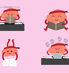 Brain cartoon learning vector