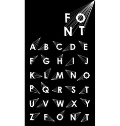 Wire low poly alphabet font with shadow vector