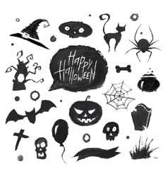 Watercolor halloween set vector