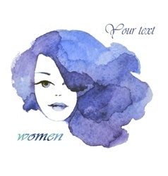 face of a beautiful young woman watercolor vector image