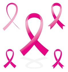 Pink sign ribbon cancer symbol vector