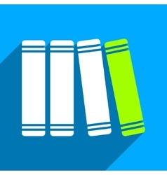 Library books flat square icon with long shadow vector