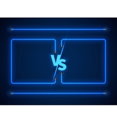 Versus screen with blue neon frames and vs letters vector