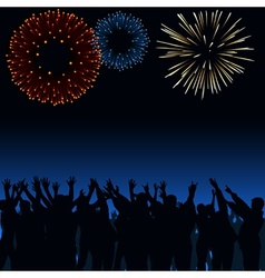 Fireworks and crowd vector