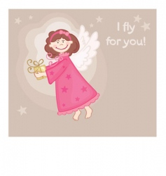 angel gift card vector image vector image