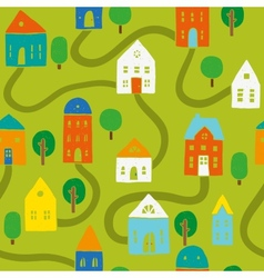 Bright houses pattern vector image vector image