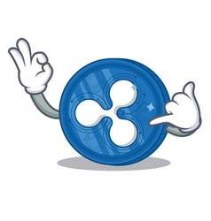 Call me ripple coin character cartoon vector